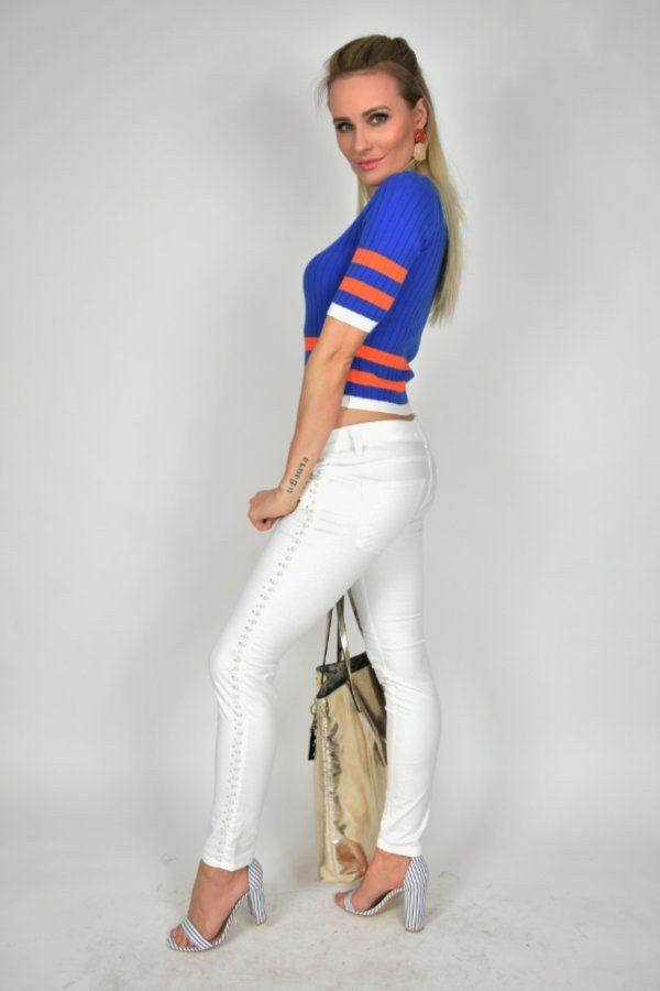 Jeansy Miss Miss z perełkami białe