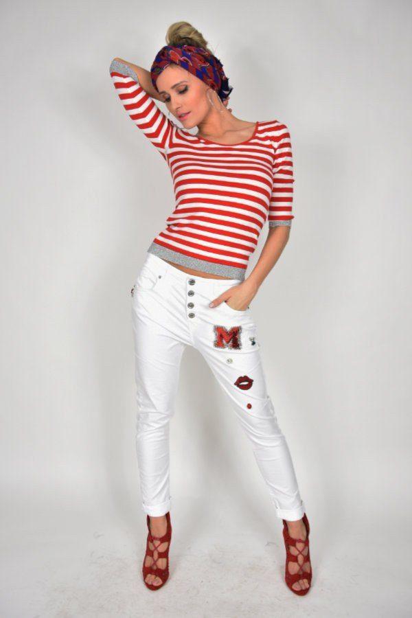 Jeansy Miss Miss z naszywkami białe