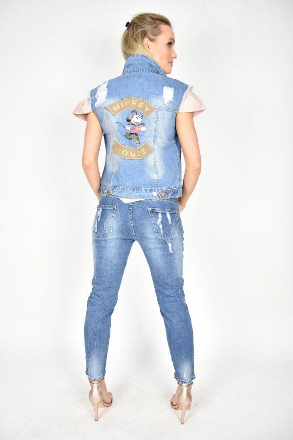 Bezrękawnik jeansowy z Myszką Miki