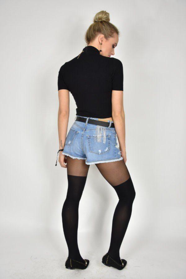 Szorty jeansowe Rossodisera z aplikacją