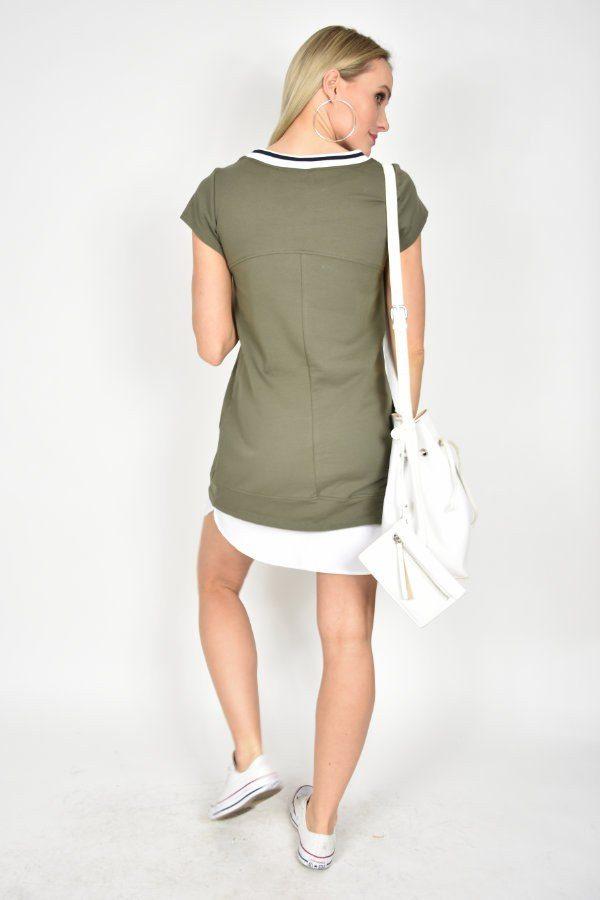 Sukienka tunika Rinascimento z naszywkami khaki