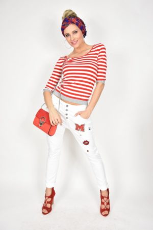 Bluzka w biało-czerwone paski Vicolo
