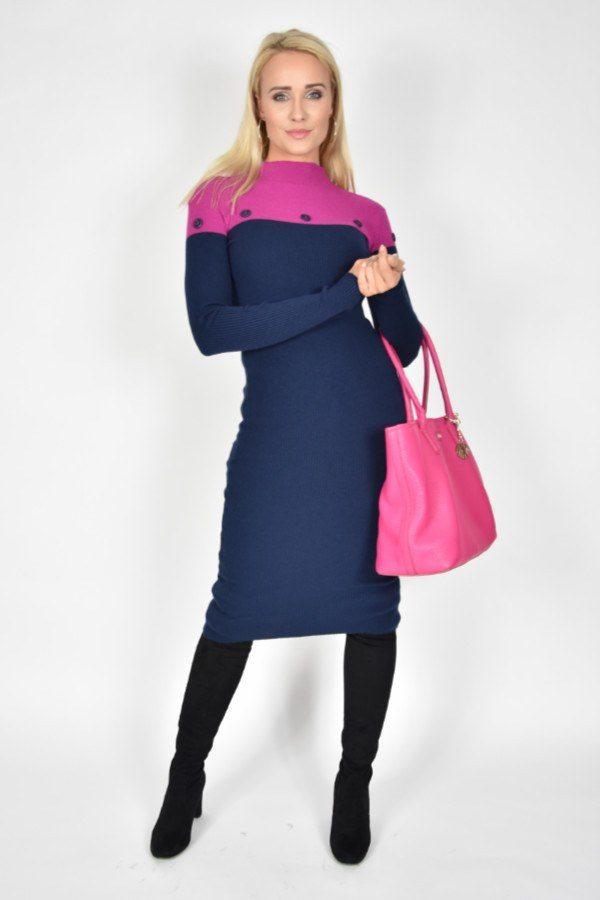 1089d34c4fc453 Sukienka dzianinowa Navy Blue Rinascimento - sklep internetowy Dolce ...