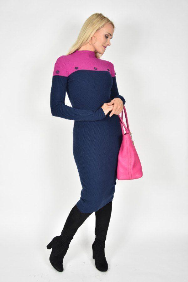 Sukienka dzianinowa Navy Blue Rinascimento