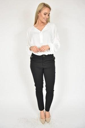 Spodnie z guzikami Rinascimento czarne